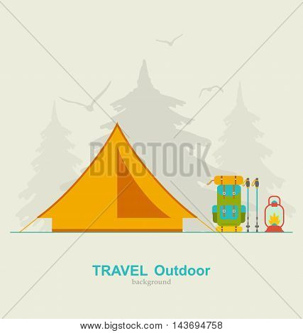 Illustration Travel Camping Background with Tourist Tent, Backpack, Lantern and Trekking Pole - Vector