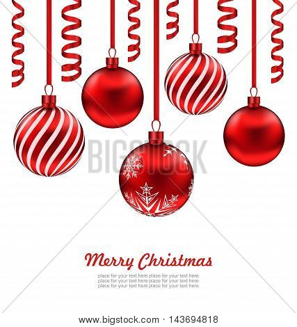 Illustration Merry Christmas Card, Red Glass Balls with Serpentine Isolated on White Background - Vector