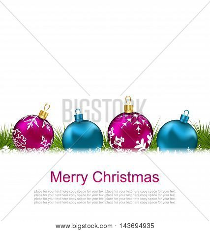 Illustration Christmas Greeting Card with Colorful Glass Balls - Vector