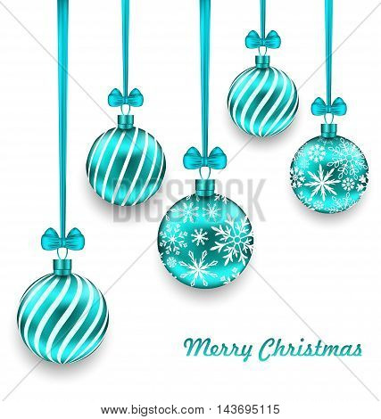 Illustration Christmas Background with Turquoise Glassy Balls - Vector
