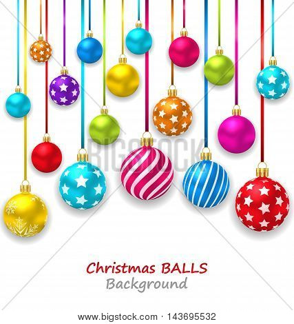Illustration New Year Bckground with Set Colorful Christmas Ornamental Balls - Vector