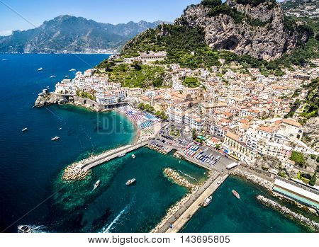 Aerial View of Maiori, Amalfi coast, Italy