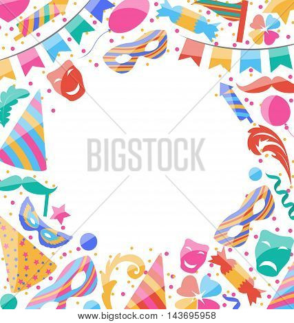 Frame Celebration background with carnival stickers and objects - vector