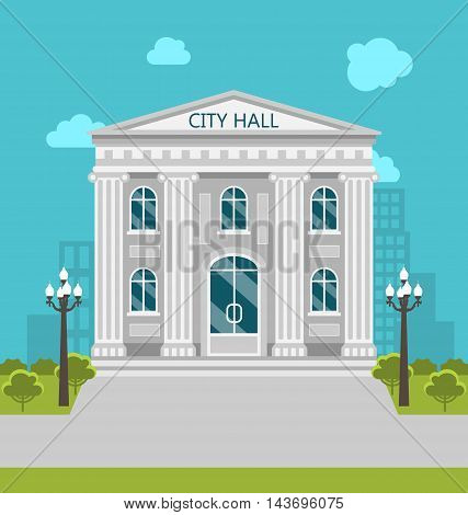 Illustration Municipal Building, City Hall, the Government, the Court. Urban Landscape - Vector