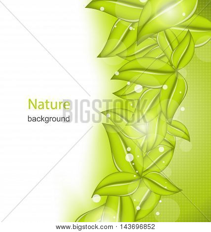 Illustration Summer Card with Eco Green Leaves - Vector