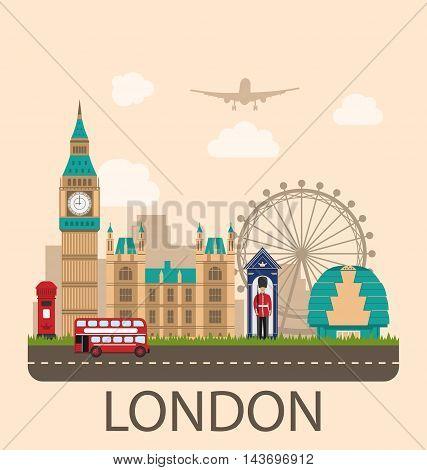 Illustration Design Poster for Travel of England. Urban Background. Concept of Travel and Tourism Banner. Famous Landmarks. Vintage Style - Vector