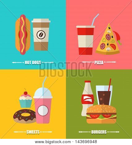 Illustration set fast food and drink, flat colorful simple icons - vector