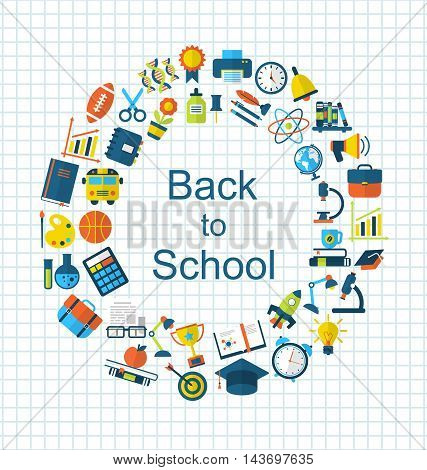 Illustration Set of School Colorful Simple Objects and Elements on Grid Paper Sheet - Vector