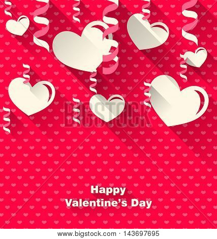 Illustration Valentines Day Background with Paper Hearts and Serpentine, Trendy Flat Style with Long Shadows - Vector