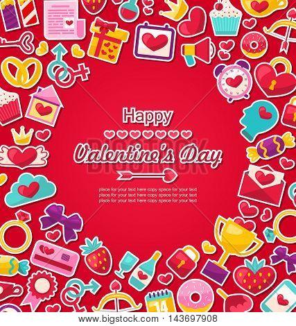 Illustration Celebration Postcard for Valentine's Day. Flat Valentine Icons, Cupid Arrows, Love Letter, Gender Symbols, Present, Strawberry, Candy - Vector