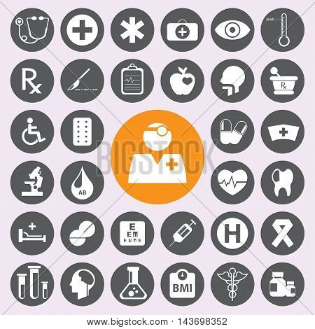 Flat Medical and health sign and symbol Icons set
