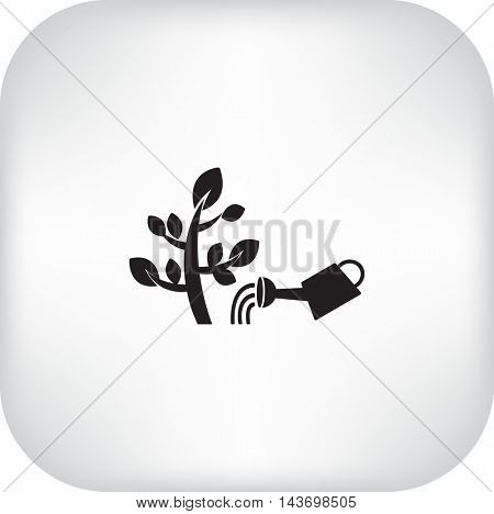 The flat icon. Watering plants. Water pouring from a watering can on the plant.