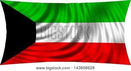 Flag of Kuwait waving in wind isolated on white background. Kuwait national flag. Patriotic symbolic design. 3d rendered illustration