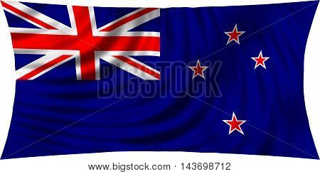 Flag of New Zealand waving in wind isolated on white background. New Zealand national flag. Patriotic symbolic design. 3d rendered illustration