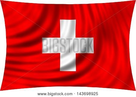 Flag of Switzerland waving in wind isolated on white background. Swiss national flag. Patriotic symbolic design. 3d rendered illustration