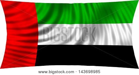 Flag of the United Arab Emirates waving in wind isolated on white background. UAE national flag. Patriotic symbolic design. 3d rendered illustration