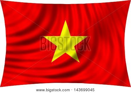 Flag of Vietnam waving in wind isolated on white background. Vietnamese national flag. Patriotic symbolic design. 3d rendered illustration