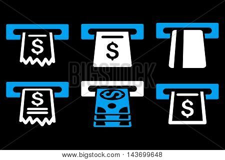 Automated Cashier glyph icons. Pictogram style is bicolor blue and white flat icons with rounded angles on a black background.