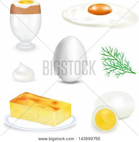White natural egg, healthy food, the isolated food product, raw materials of a poultry farm, vertical egg on a white background, a piece of an omelet on a dish, a green dill, white mayonnaise, fried eggs with a yolk,