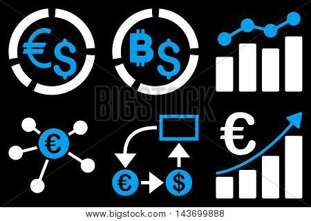 Business Charts glyph icons. Pictogram style is bicolor blue and white flat icons with rounded angles on a black background.