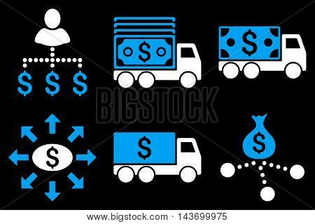 Cash Delivery glyph icons. Pictogram style is bicolor blue and white flat icons with rounded angles on a black background.