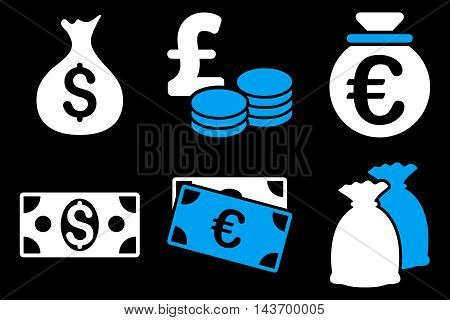 Cash Money glyph icons. Pictogram style is bicolor blue and white flat icons with rounded angles on a black background.