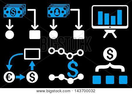 Cashflow Charts glyph icons. Pictogram style is bicolor blue and white flat icons with rounded angles on a black background.