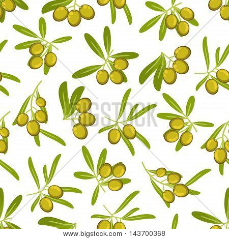 Olives seamless pattern background. Green olive branch with leaves vector icons. Italian and Greek cuisine element. Graphic design for wallpaper, kitchen, cafe, pizzeria, restaurant, menu