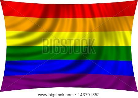 Rainbow gay pride flag waving in wind isolated on white background. Symbol of LGBT movement. 3d rendered illustration