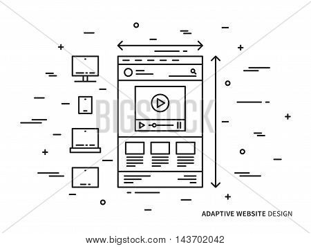 Responsive web design vector illustration. Adaptive (scalable) website (webpage) technology creative concept. Responsive web interface (ui, ux) for different devices graphic design.