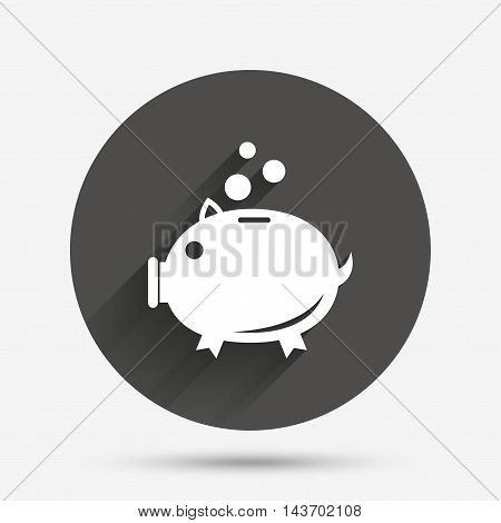 Piggy bank sign icon. Moneybox symbol. Circle flat button with shadow. Vector
