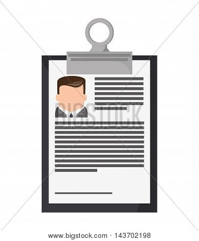 flat design clipboard and document icon vector illustration