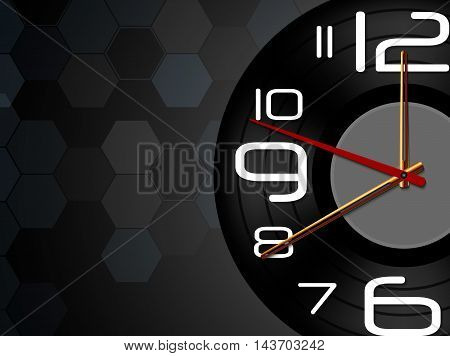 Illustration of Black wall Clock showing midnight