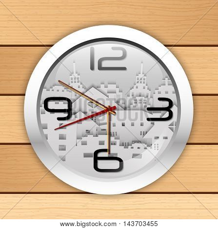 Illustration of Wall clocks with image of paper buildings on a wooden background