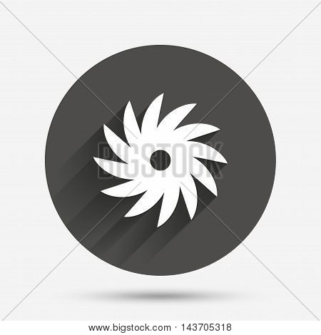 Saw circular wheel sign icon. Cutting blade symbol. Circle flat button with shadow. Vector