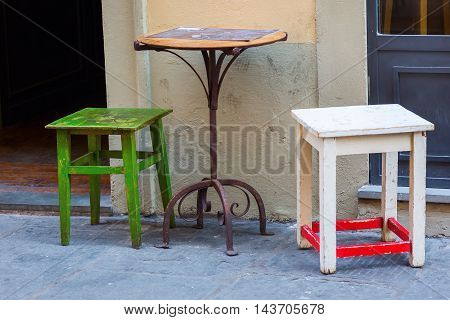 Table And Chairs Of A Small Cafe In Florence
