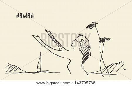 Sketch of a Hawaiian girl, vector illustration, hand drawn