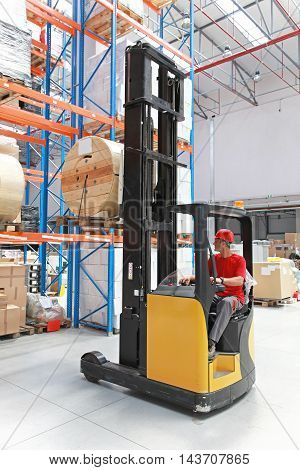 Forklift Loading Pallet With Spool in Distribution Warehouse
