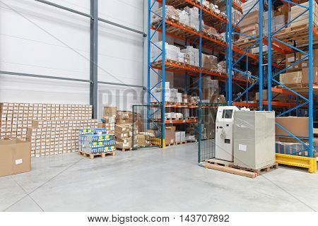 Storage Room With Boxes in Distribution Warehouse