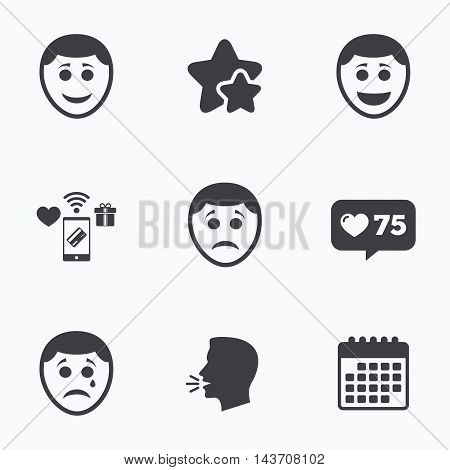 Human smile face icons. Happy, sad, cry signs. Happy smiley chat symbol. Sadness depression and crying signs. Flat talking head, calendar icons. Stars, like counter icons. Vector