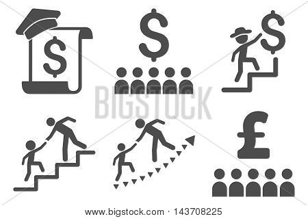 Financial Education vector icons. Pictogram style is gray flat icons with rounded angles on a white background.