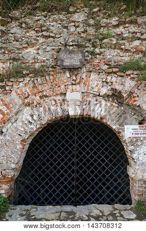 Back drop brick wall with gate. Ukraine Dubno Carpathian