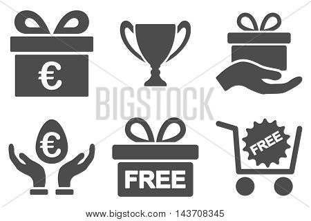 Gift vector icons. Pictogram style is gray flat icons with rounded angles on a white background.