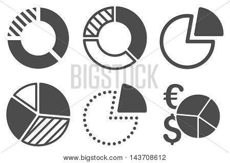 Pie Chart vector icons. Pictogram style is gray flat icons with rounded angles on a white background.
