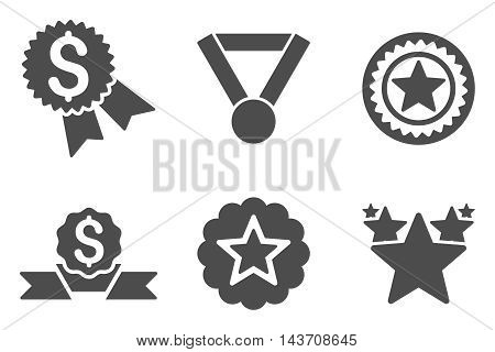 Reward vector icons. Pictogram style is gray flat icons with rounded angles on a white background.