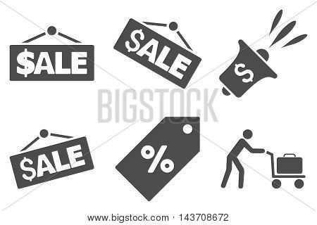 Sale vector icons. Pictogram style is gray flat icons with rounded angles on a white background.
