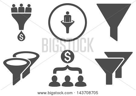 Sales Filter vector icons. Pictogram style is gray flat icons with rounded angles on a white background.
