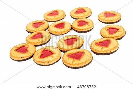 biscuit with jelly filling on a white background