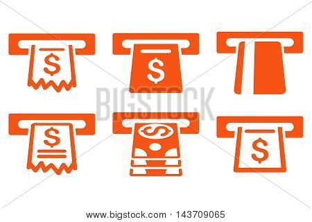 Automated Cashier vector icons. Pictogram style is orange flat icons with rounded angles on a white background.