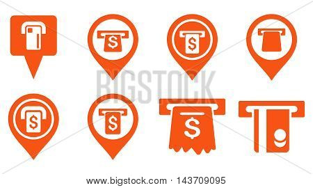 Bank ATM Pointers vector icons. Pictogram style is orange flat icons with rounded angles on a white background.